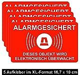 5 Stück XL Aufkleber Alarm iSecur® | alarmgesichert | 16,7 x 10 cm | hin_077_außen | Hinweis auf Alarmanlage oder Alarmsystem / Videoüberwachung | Gewerbe | Haus | Halle | Baumaschine | LKW
