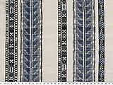 Baumwoll-Crépe, Ethno, blau-weiß, 138cm