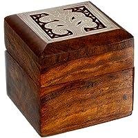 ShalinIndia - Piccola scatola in legno per articoli di gioielleria come ad esempio gemelli, anelli, collanine, anelli per le dita dei piedi - Piccole Scatole Decorative