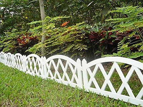 Clôture de jardin 4pièces en plastique blanc
