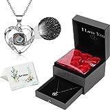 """TOOP - """"I Love You"""" confezione regalo con fiori di rosa e collana, disponibile in 100 lingue, idea regalo per San Valentino,"""