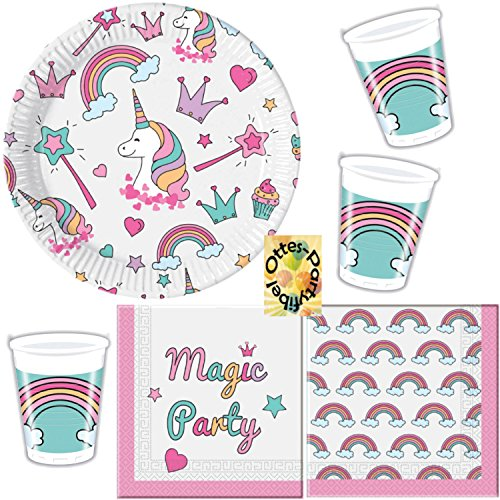 Magic Unicorn Einhorn Partyset 52tlg. Teller Becher Servietten für 16 Kinder