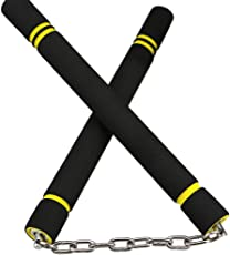 Leoie Safety Foam Nunchaku,Sponge Double Truncheon with Stainless Steel Chain for Training