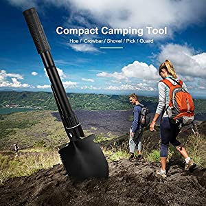 Backpacking outlife Folding Shovel Car Emergency Outdoor Tool for Camping Gardening Fishing Trenching Mini Military Survival Shovel with Pickaxe//Hoe//Saw//Opener//Compass