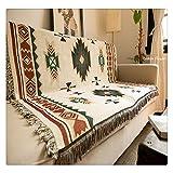 Peel-Forest-Sofadecke, 90 x 150 cm, mit geometrischem Design im Stil der Azteken und amerikanischer Indianerstämme, auch als kleiner Teppich verwendbar. Aus Baumwolle.