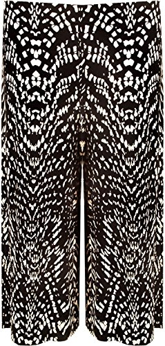 Chocolate Pickle® Neue Frauen Plus Size Hundezahn Abbindebatik drucken Wide Leg culottes 44-54 Dogtooth