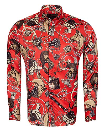 d0aaec707f Oscar Banks Ropes Printed Long Sleeved Satin Shirt SL 6772 Red