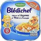 Blédina Blédichef Assiette Julienne de Légumes et Thon à la provencale dès 18 mois 2 x 260g - Lot de 4