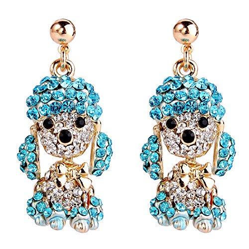 EVER FAITH Damen österreichischen Kristall Party liebenswert Pudel Hund Tier baumeln Ohrringe blau Gold-Ton