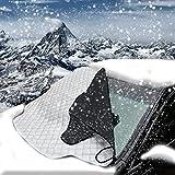 HNX QCXD-001S Copertura per parabrezza auto, anti neve, gelo, ghiaccio, polvere, sole, in alluminio, schermo per tutte le condizioni meteo, piccolo, 183x 116cm