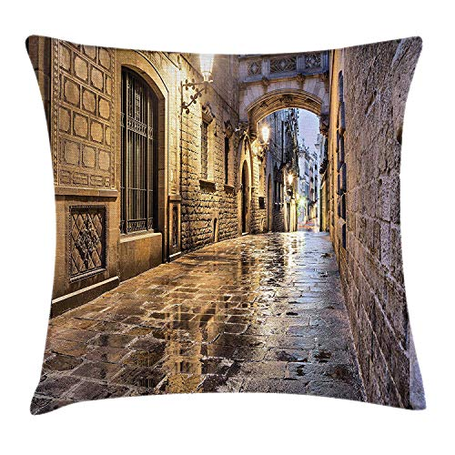 City Throw Pillow Cushion Cover, Narrow Street Gothic Design Architecture Carrer del Bisbe Barcelona Spain Europe, Decorative Square Accent Pillow Case, 18 X 18 inches, Tan Pale Brown -