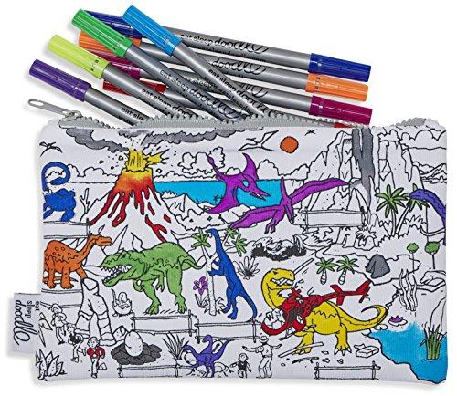 Dinosaurier-Mäppchen zum Ausmalen aus Baumwolle mit auswaschbaren Stoffstiften - Ausmalen & Lernen
