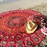 bhagyoday fashions- indischen Pfau Mandala tapestry- Mandala Beach towel- rund Beach-Überwurf rund Meditation Yoga Badvorleger Oversize towel- Beach Circle Handtuch 177,8cm