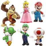 SZWL Super Mario Brothers Cake Toppers, 6 pezzi Super Mario Cartoon Animal Birthay Cake Toppers, miglior regalo per i bambini