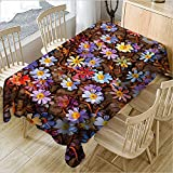 hhlwl Tischdecke Home Party Dekoration Tischdecke 3D Farbe Blumen Rechteckig Einfach Zu Tischdecke Abwischen, 140 X 200 cm