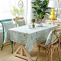 120 * 160 cm árbol de luz azul rústico Floral ins gamuza de mesa para jardín rectangular de comedor de lino y algodón cuadrado non-ironing respetuoso con el ...