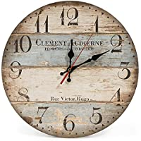 """LOHAS Home 30cm Silent Wooden Round Wall Clock, 12"""" Vintage Rustic Shabby Chic Style,Green Stripes Arabic Numerals Design Wooden Round Decorative Wall Clock (Victor Hugo)"""