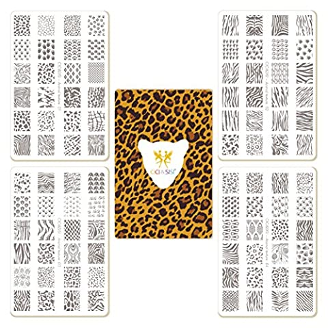 CICI&SISI Nail Art Stamping Plates Kit Animal Texture Plate Manicure Templates, set of 4