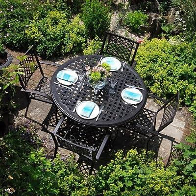 Lily 120cm Rundes Gartenmöbelset Aluminium - 1 LILY Tisch + 4 JANE Stühle
