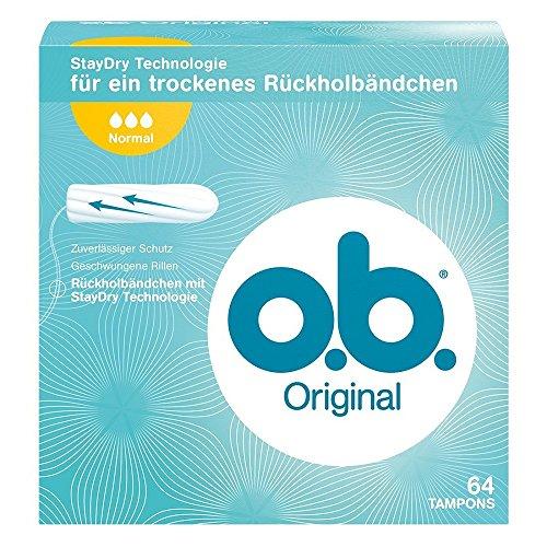 o.b. Original Normal Tampons mit geschwungenen Rillen / Für zuverlässigen Schutz ideal für normale Tage, 64er Pack