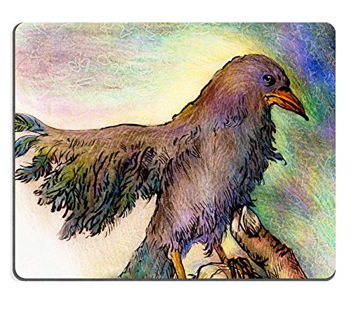 MSD Natural Rubber Gaming Mousepad IMAGE ID: 38215196 Fantasy park bird detailed colorful ornamental drawing profile portrait abstract background (Profil Portrait)