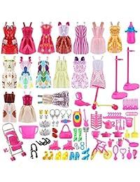 120 Pezzi Barbie Accessori Vestiti, Barbie Abito Gonna Moda Scarpe Barbie Oggetto Domestico Rosa Grucce per Barbie Accessori per Della Ragazza Compleanno Regalo Natale