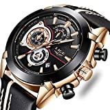 Mens Watches Leahter Military Sport Watch Waterproof Analog Quartz Watch Casual Luxury Wrist Watch Rose Gold Black