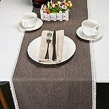 """VU100 Camino de mesa de lino y algodón natural con borde de encaje, color liso, tela suave lavable a máquina para mesa de comedor, fiestas, bodas, decoración de día por (14"""" x 84"""", gris claro)"""