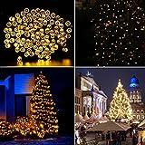 Aglaia Cadena de Luces Solar con 100 LEDs, 10 Metros de Secuencia Luz Blanca Cálida con 7 Modos de Iluminación, LED Lámpara Decorativa Impermeable para Navidad, Fiestas, Bodas, Paisaje Decoración