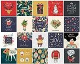 20 Umweltfreundliche Weihnachtskarten Mit Umschlag 15x15 cm -Als Weihnachtskarte Für Männer, Frauen, Kinder & Erwachsene - Klappkarten Mit Lustigen Weihnachtssprüchen, Frei Von Plastik - Version 2019