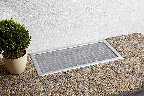 Lichtschachtabdeckung Kellerschachtabdeckung 60 x 115 cm, Gitterrost in Silber, trittfest, für Kellerschacht und Lichtschacht, individuell kürzbar