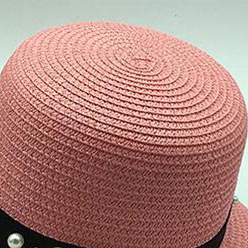 Surker New Womens Weave Straw Sun Hat Anti-UV Hat Rose
