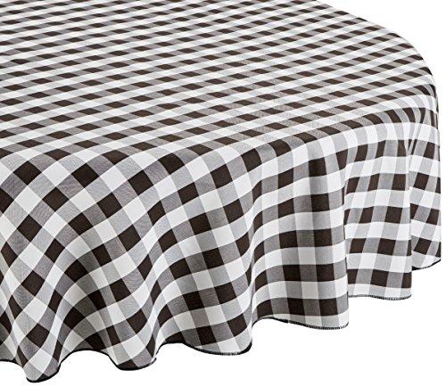 LinenTablecloth 178cm Rund Tischdecke, Polyester, Schwarz & Weiß Checker (Checker Tischdecke Schwarz)