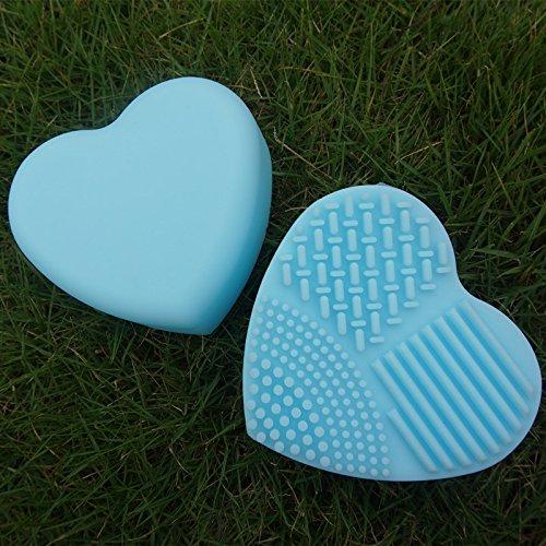 fishroll Mini Make-up-Pinsel von Herz Form Reinigung Waschen Pinsel Matte reinigen Scrubber Board (HIMMELBLAU)