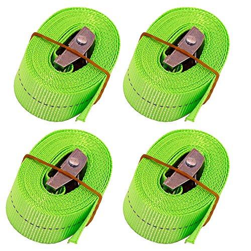 CSTOM 4 Stück Spanngurt Zurrgurte Lashing Strap mit Klemmschloss Schnellverschluss - 2.5m x 25mm Breite, 250Kg Grün