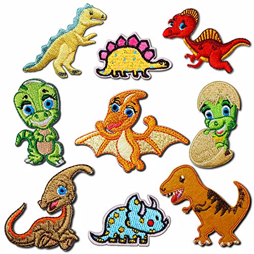 9 parches de dinosaurio para decoración de ropa, para planchar o coser,...