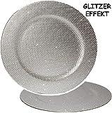 1 Stück _ großer Teller -  Silber - Glitzer & Glanz  - Ø 33 cm - Unterteller / Platzteller / Plätzchenteller - Keksteller - grau / edel - festlich gedeckte ..