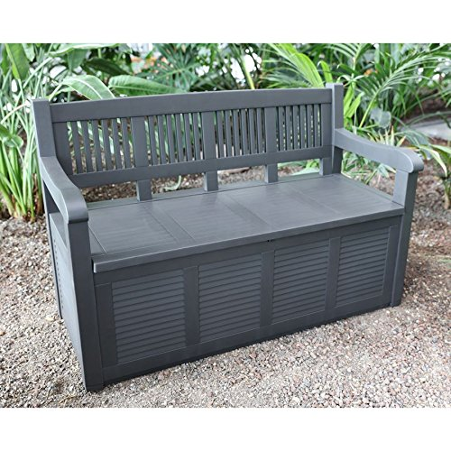 2- Sitzer Gartenbank mit Aufbewahrungsbox Truhe Kissen Auflagen Garten Terrasse