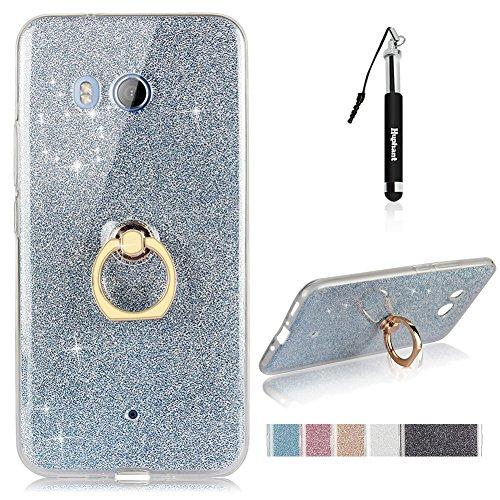 HTC U11 Hülle, HTC U11 Hülle TPU Handyhülle, Huphant Ultra Slim TPU Silikon Hülle [Glitzer TPU with Ring Halter Serie]Anti-Wasserzeichen hülle für HTC U11 (5,5 Zoll) - Blau