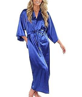 Maniche Lunghe Bordo Pizzo Stile YAOMEI Donna Kimono Vestaglia Pigiama Sleepwear di Seta Raso di Seta del Robe Accappatoio Damigella dOnore da Notte Pigiama