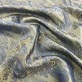 Blau/Gold Paisley Jacquard Polyester Viskose Kleid Futter