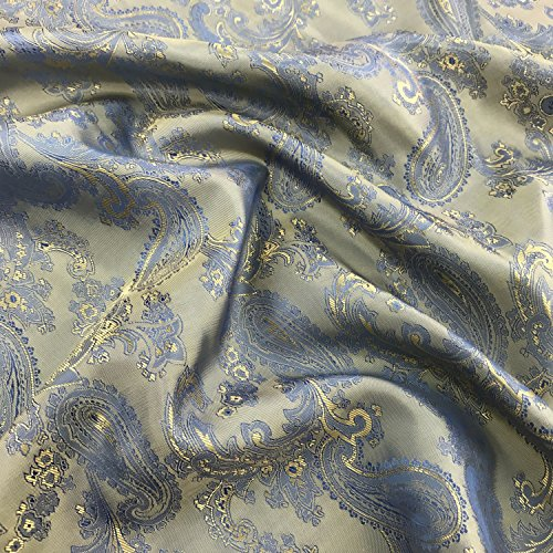 Blau/Gold Paisley Jacquard Polyester Viskose Kleid Futter Stoff 152,4cm 150cm breit–Meterware (Gold Stoff-futter)