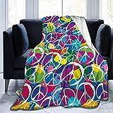 Searster$ Fleece Blanket Retro Friedenszeichen-Symbol-Bunte Pop-Art-Art-pazifistische Aktivismus-Gemütliche Plüsch-Wurfs-Decke,super weiche flockige Vlies-Decke für Bettsofa,102X127Cm