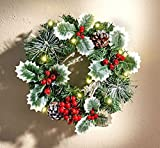 LED Türkranz Ilex - Wandkranz - Weihnachtskranz - Tischkranz - Weihnachten - Kranz - Adventskranz - Weihnachtsdeko - Weihnachtskranz - Tischgesteck - Tischdeko - Wanddeko - Winterkranz - Dekoration - Dekokranz - Tannengrün - Zapfen Ilex - Kunststoff - 10 LED´s - batteriebetriben - grün - ∅ 27 cm