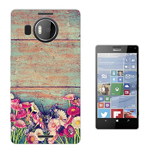002837 - Vintage Wood Tulips and Daisy Floral Roses flowers Chic Design Microsoft Nokia Lumia 950 XL Fashion Trend Silikon Hülle Schutzhülle Schutzcase Gel Rubber Silicone Hülle