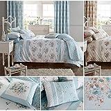 Juego de funda nórdica y funda de almohada con cortinas a juego, diseño floral, algodón poliéster, Duck Egg ( Blue White ), 195 x 229 cm
