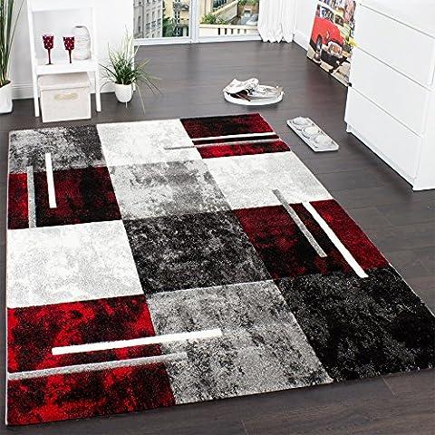 Alfombra Moderna De Diseño Perfilado - A Cuadros En Gris Negro Rojo, Grösse:80x300 cm