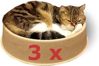 KittyDoo Katzenbett ComfyCat 3er Pack - Katzenschale Rund, Bequem, Gesund, Kratzfest aus Papier