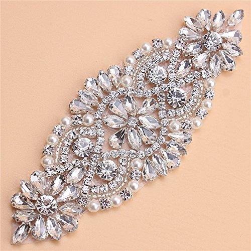 Kristall Strass Applikation mit Perlen für Bridal Gürtel Hochzeit Kleid Strumpfhalter Strassbesatz (Kristall Hochzeit Kleid)