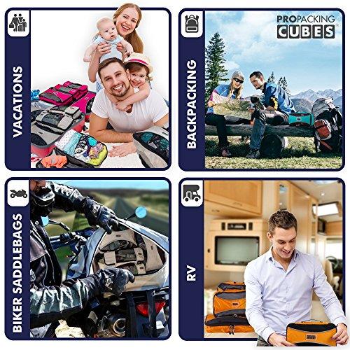 PRO Packing Cubes | Packwürfel im 4-teiligen Sparset | Taschen mit 30 % Platzeinsparung | Ultraleichte Gepäckverstauer | Ideal für Seesäcke, Handgepäck und Rucksäcke (Schwarz) Navy